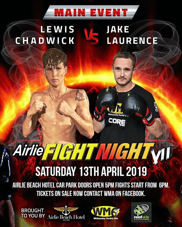 The boxing bout between Jake Lawrence and Lewis Chadwick will be the final fight of the night at Airlie Beach Fight Night on April 13.
