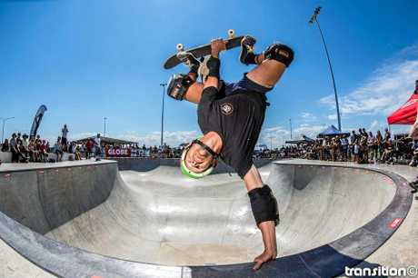 Masters winner Luke Foster from Warrnambool. King Of Concrete Skateboard Competition was held at Torquay.