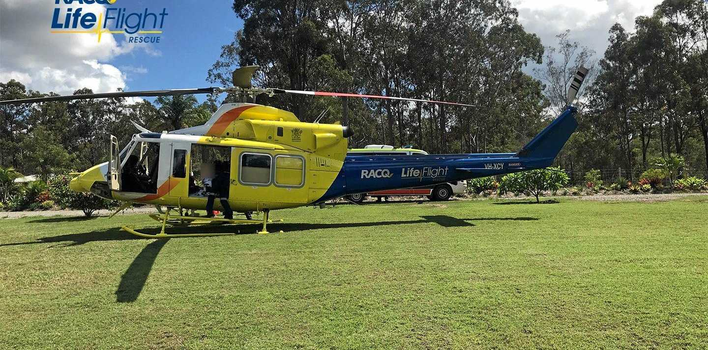 The RACQ LifeFlight Rescue helicopter has landed at a Brisbane hospital after airlifting an elderly man with critical injuries from the Gympie region.