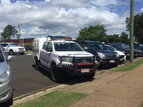A police vehicle outside the hospital.