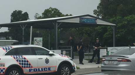 Police at Helensvale State School this morning after a bomb threat put the school into lockdown.