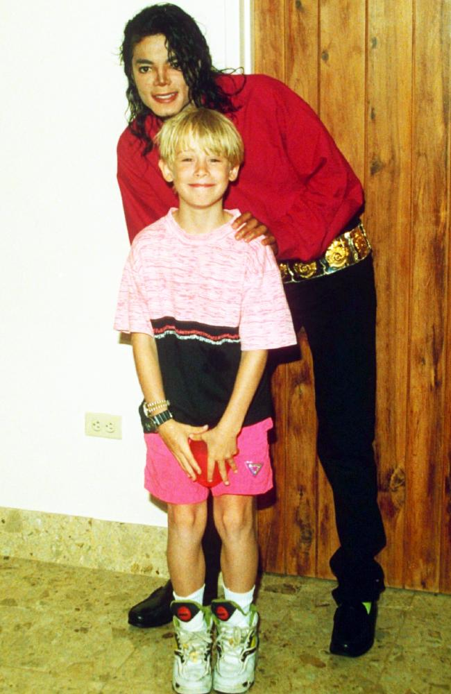 Home Alone actor Macaulay Culkin, 13, in September 1993 with Michael Jackson. Picture: Ernie Mccreight/REX/Shutterstock