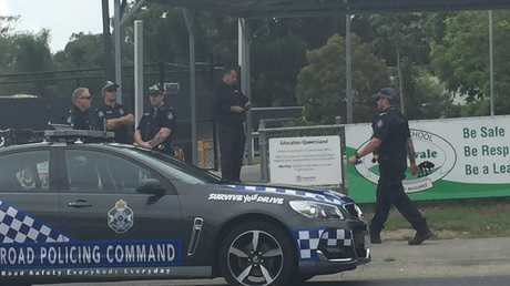 Police outside Helensvale State School this morning.
