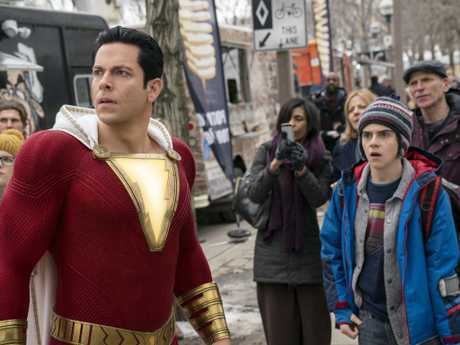 Zachary Levi (left) and Jack Dylan Grazer in a scene from Shazam!