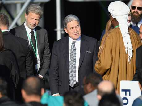 New Zealand Deputy Prime Minister Winston Peters arrives at the National Remembrance Service in Christchurch, New Zealand. Picture: Getty