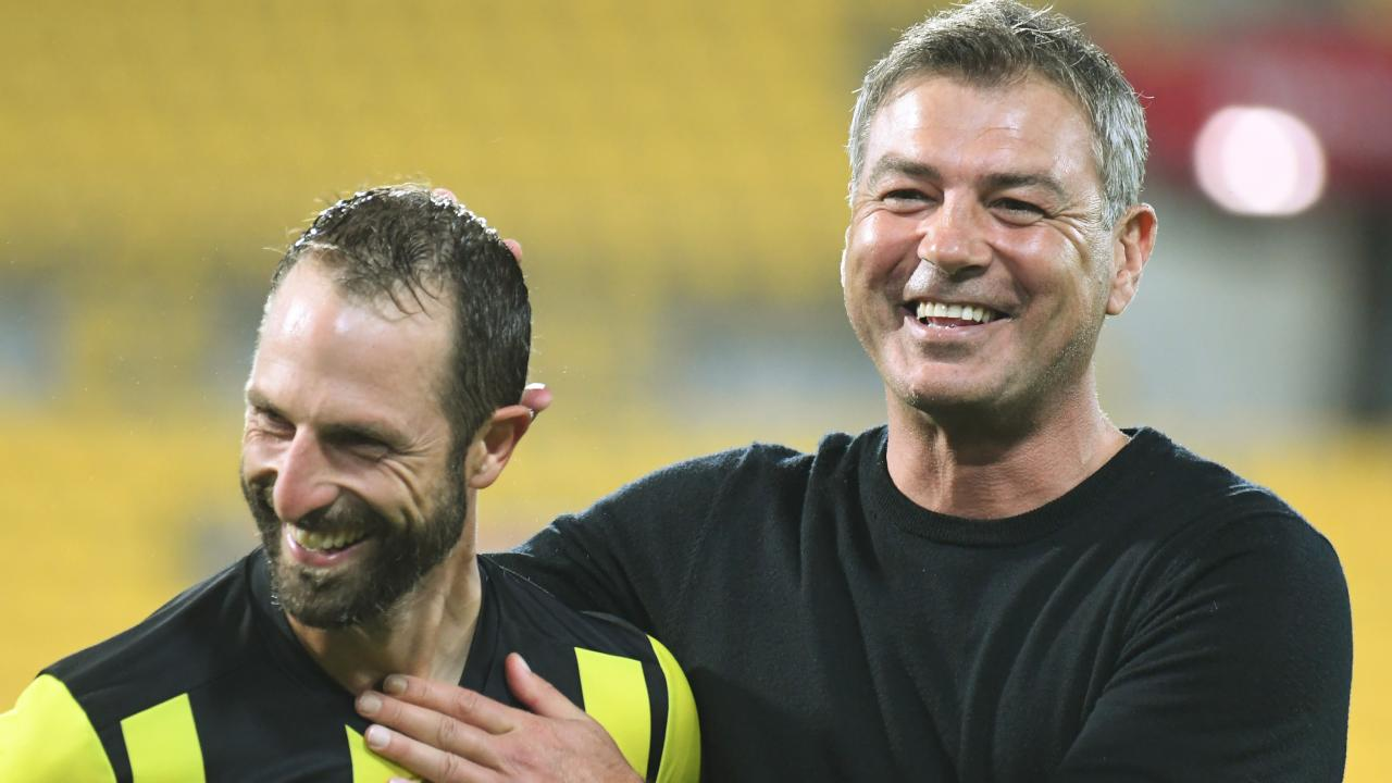 Wellington coach Mark Rudan, pictured with Phoenix captain Andrew Durante, has brought a new-found joy to the New Zealand-based club. Picture: AAP