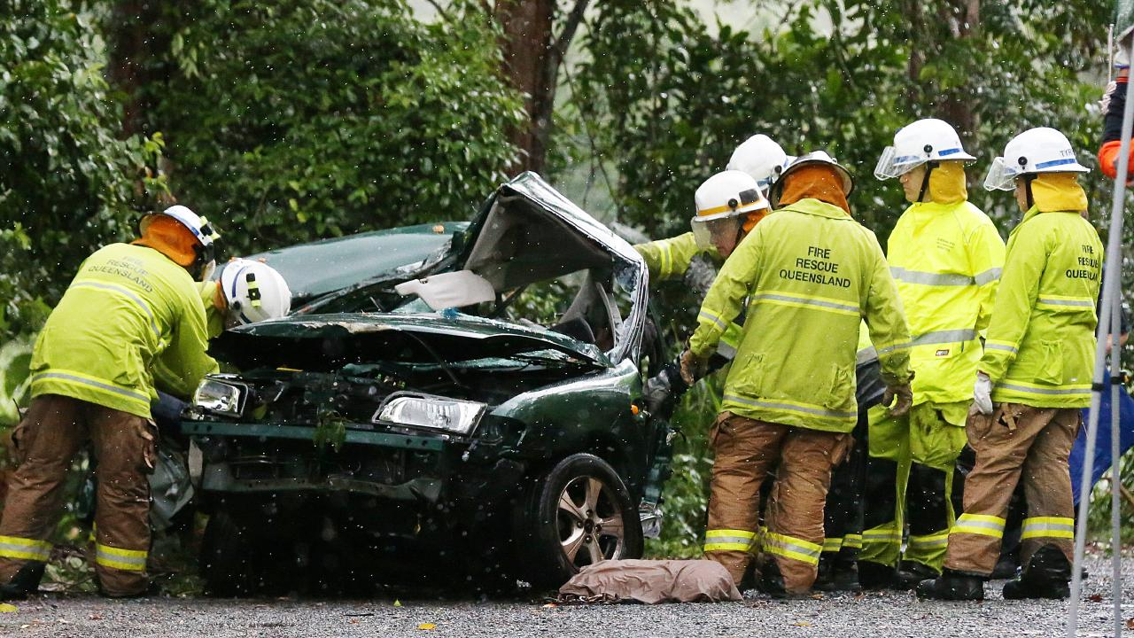 The scene of a fatal single vehicle crash where a 27 year old man was killed after colliding into a tree on the Gillies Highway at Little Mulgrave. PICTURE: STEWART MCLEAN