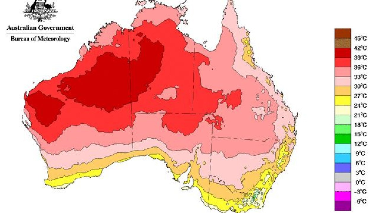 The graphic above shows average maximum temperatures across Australia for March 2019. Picture: Bureau of Meteorology.