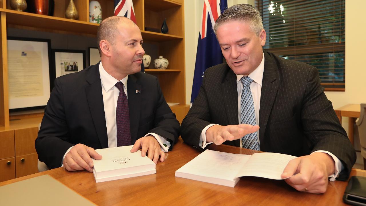 Treasurer Josh Frydenberg and Minister for Finance Senator Mathias Cormann. Picture: Kym Smith