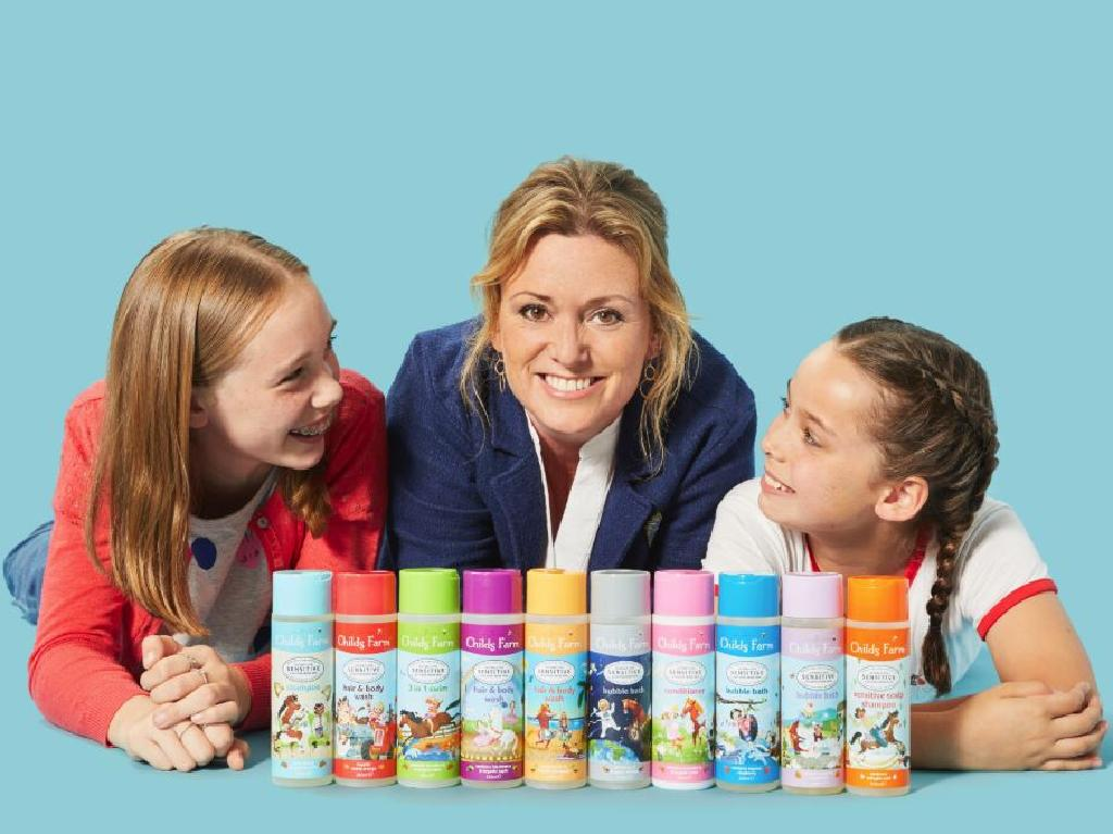 Childs Farm founder Joanna Jensen with her daughters Mimi and Bella, who inspired her to create her own toiletries brand for children.