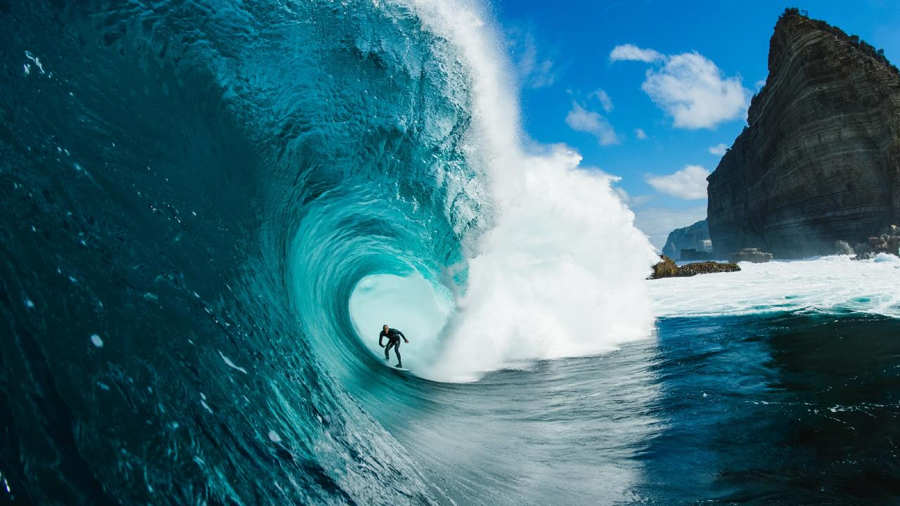 Stu Gibson's winning photo of Mikey Brennan riding a monster wave at Shipstern Bluff. Picture: STU GIBSON