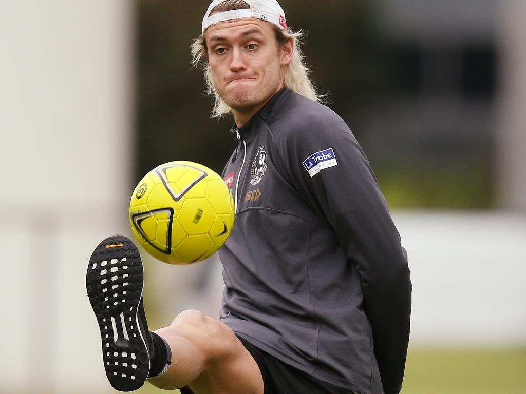 Darcy Moore at Collingwood training this week.
