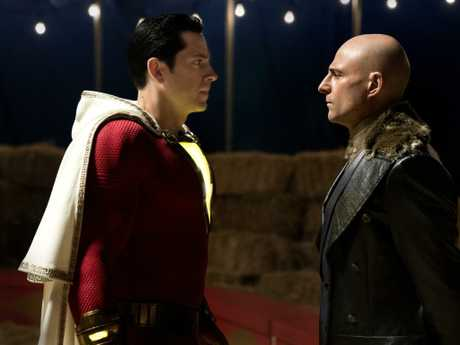 Zachary Levi (left) and Mark Strong in a scene from Shazam!.
