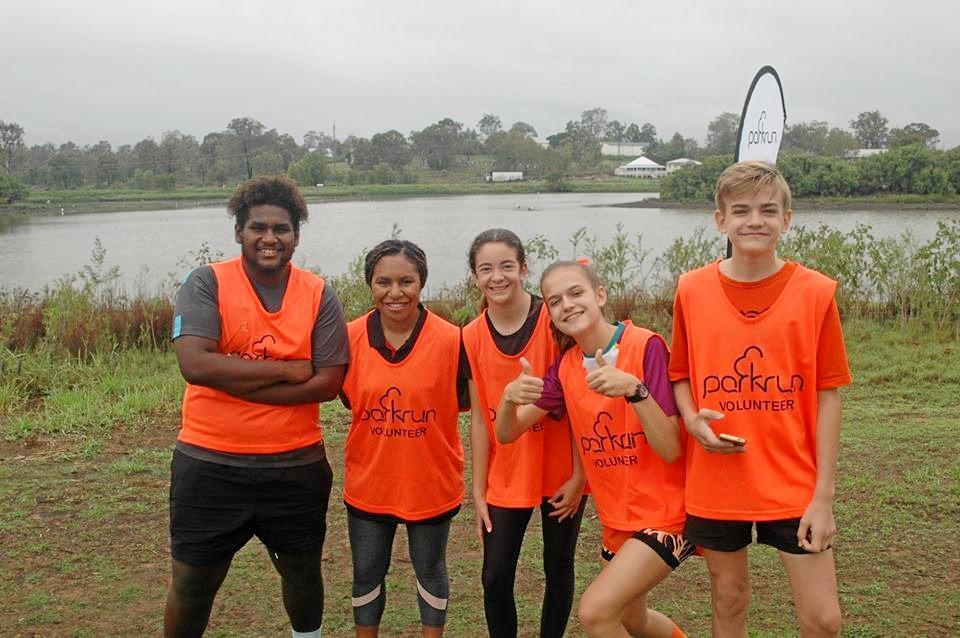 RUN HELPERS: Lockyer District High School volunteers Dariel Suri, Samantha Ene, Ashlyn Stone, Holly Ilka and Josh Ilka.