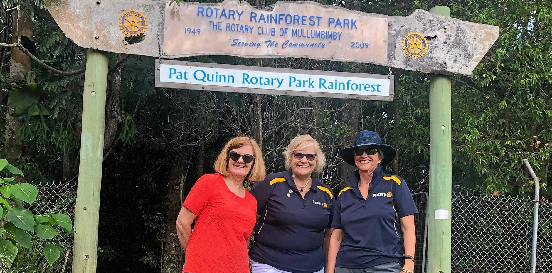 ROTARY: Rotarians Julie Noble, President Nerida Dean and Penny Bond out front of the award winning Rotary Rainforest Park.