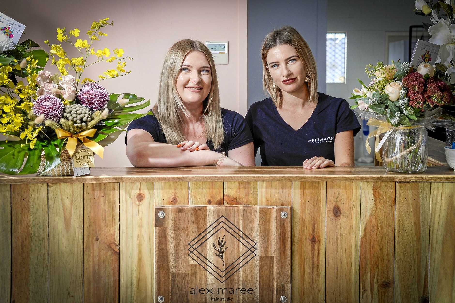 Sisters Samantha Ward and Michaela Ward have opened a new hairdressing salon, Alex Maree Hair Studio on Tank Street, Gladstone.