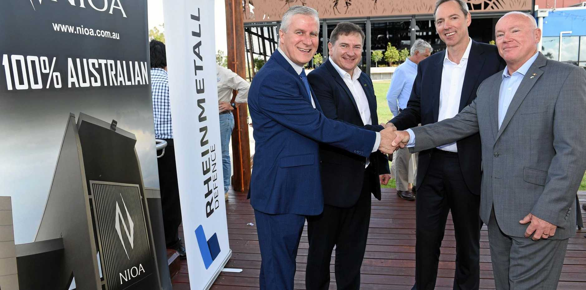 WELCOME BOOST: Deputy PM Michael McCormack, Federal Member for Wide Bay Llew O'Brien, NIOA managing director Rob Nioa and Rheinmetall director Rod West at the munitions factory funding announcement.