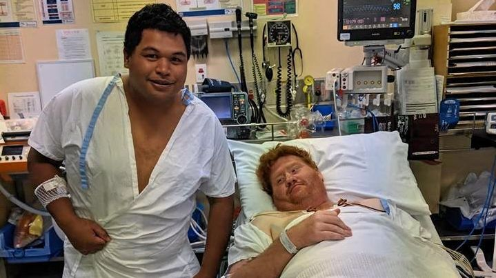 CLOSE CALL: Gympie men Ben Kereopa and Keeley Webb were taken to Gympie Hospital after being trampled by a cow at work on Tuesday.