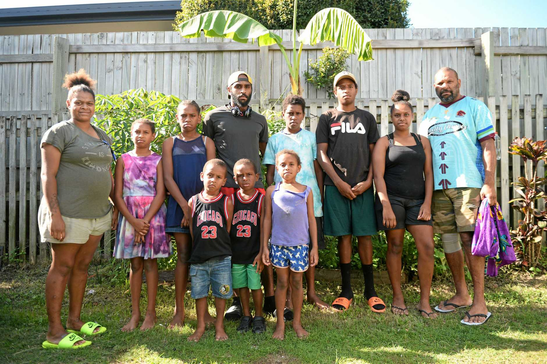 PAYING TRIBUTE: Natasha's children (L-R) Alintia Auda, Xzantia Ingui, Dawn Ingui, Darnelle Auda, Nargie Ingui, James Ingui, Chris Ingui, Horrice Ingui and Andella Ingui. Her fiance Lonnie Ingui is on the far right.