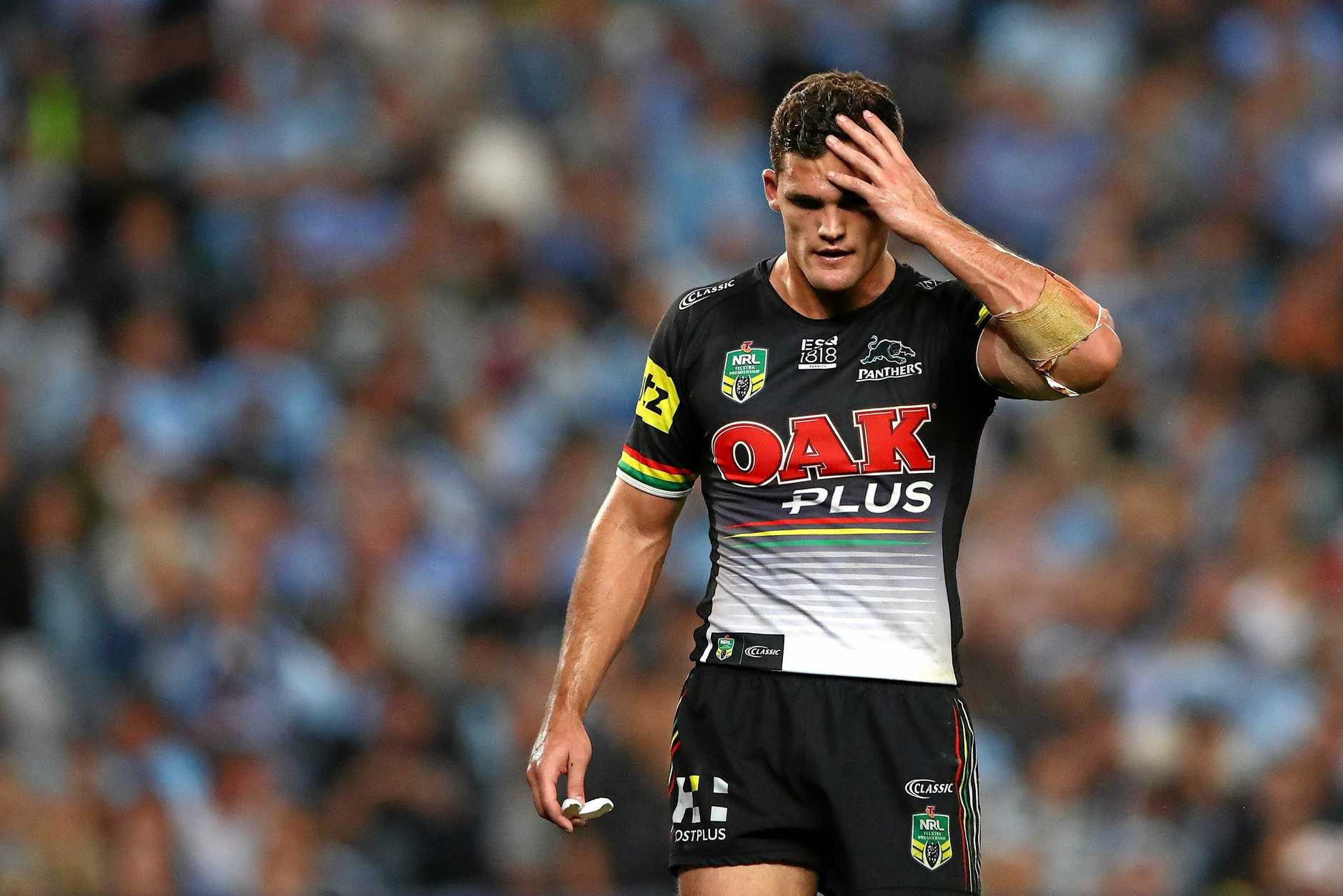 SYDNEY, AUSTRALIA - SEPTEMBER 14:  Nathan Cleary of the Panthers looks dejected during the NRL Semi Final match between the Cronulla Sharks and the Penrith Panthers at Allianz Stadium on September 14, 2018 in Sydney, Australia.  (Photo by Cameron Spencer/Getty Images)