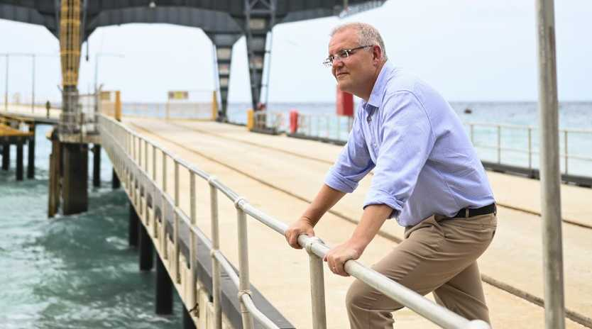 Scott Morrison poses for a photo at Christmas Island. Picture: AAP Image/Lukas Coch