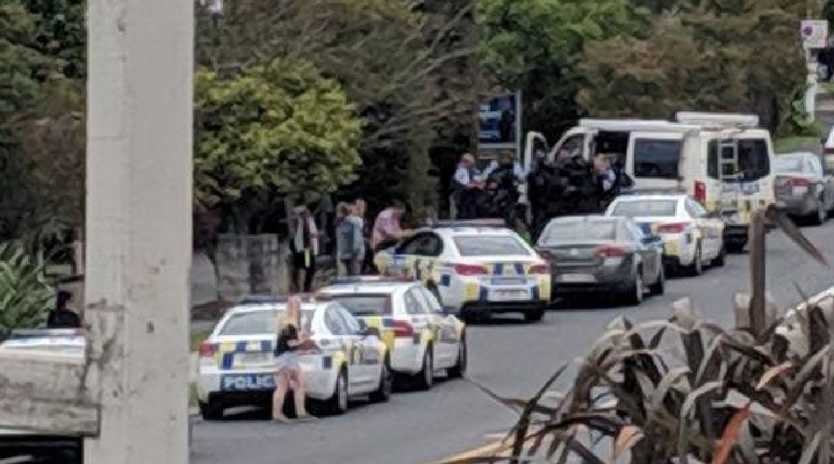Police responding to potential reports of gunfire at a Christchurch school. Picture: NZ Herald