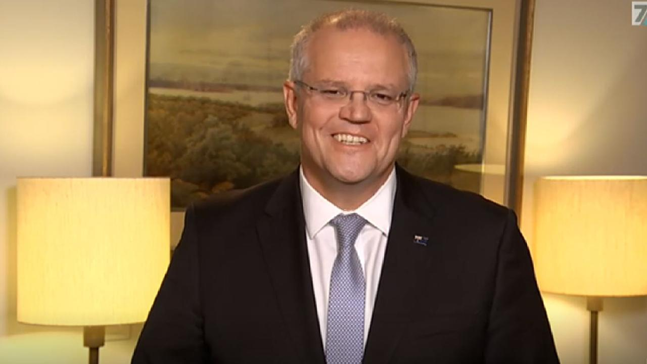 Scott Morrison was all smiles but some viewers were concerned by his apparently wonky surroundings. Picture: ABC.