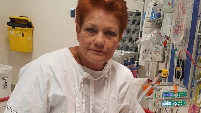 Pauline Hanson in hospital. Picture: Facebook