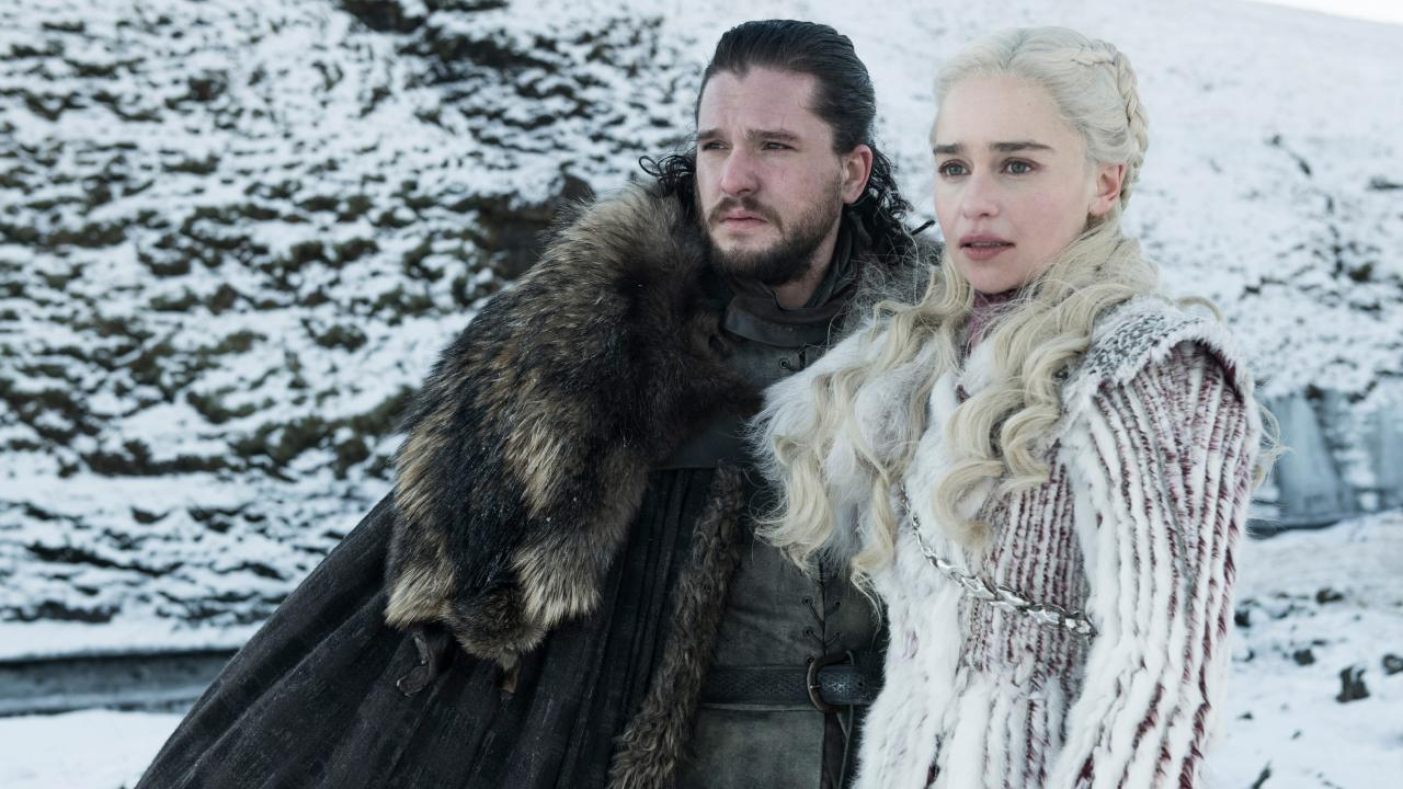 Kit Harington as Jon Snow and Emilia Clarke as Daenerys Targaryen. Picture: Helen Sloan/HBO