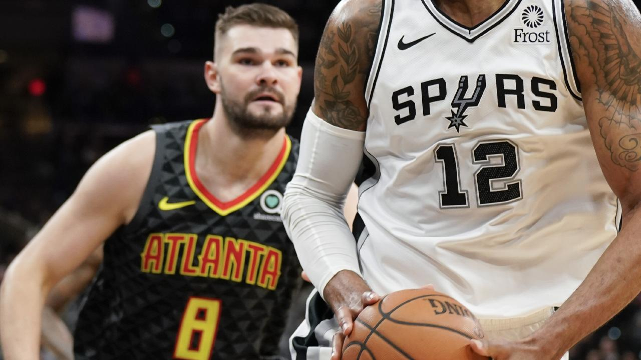 Aussie Isaac Humphries got a baptism of fire up in his NBA debut against All-Star LaMarcus Aldridge and the San Antonio Spurs. Picture: AP