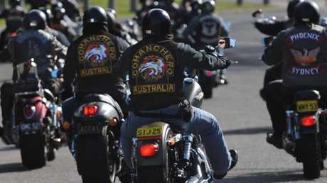 Members of outlaw motorcycle gangs gather at Moore Park, Sydney, in 2009. Picture: AAP