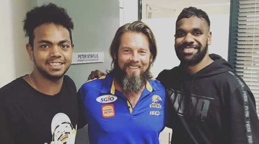 Ben Cousins with Eagles players Willie Rioli and Liam Ryan. Picture: Instagram
