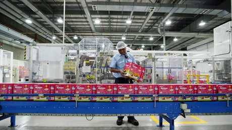 Kimberly-Clark factory in Ingleburn where Huggies nappies are made. Picture: Sam Ruttyn