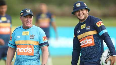 Titans coach Garth Brennan and Ash Taylor at Gold Coast training. Picture: Getty Images