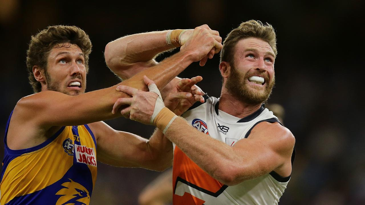 Dawson Simpson jostles with Tom Hickey during GWS Giants' loss to West Coast. Picture: Will Russell/AFL Photos/Getty Images.