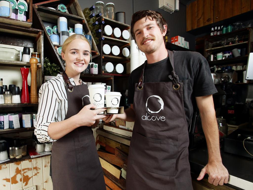 BOOST: Lochie Rowden, with Connie Savage at Alcove Cafe and Deli in Wilston, wants an increase in the minimum wage. Picture: AAP/Claudia Baxter