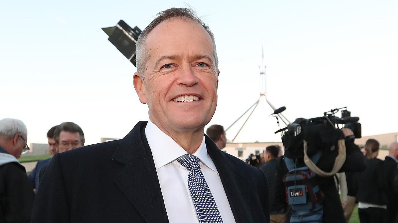 Opposition Leader Bill Shorten after appearing on morning TV out the front of Parliament House in Canberra. Picture: Kym Smith