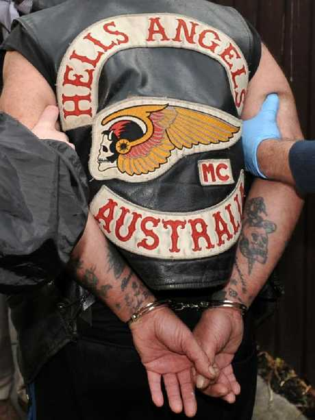 A Hells Angels member under arrest. Picture: AAP
