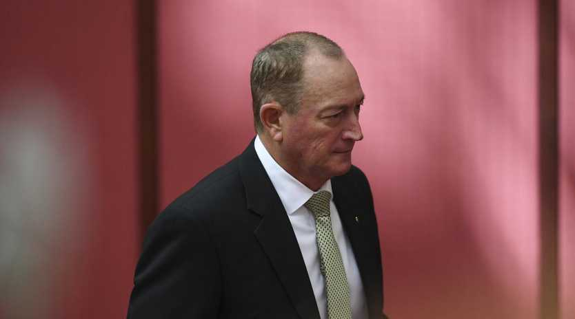 Independent Senator Fraser Anning in the Senate chamber yesterday. Picture: AAP