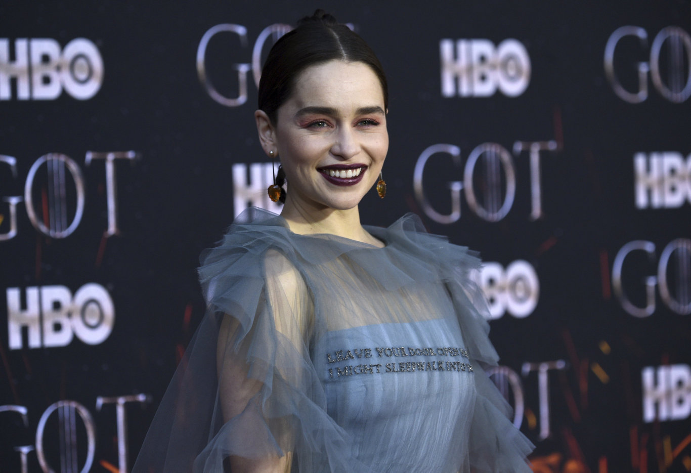 British actor Emilia Clarke wore Valentino to the final season premiere of Game of Thrones in New York today.
