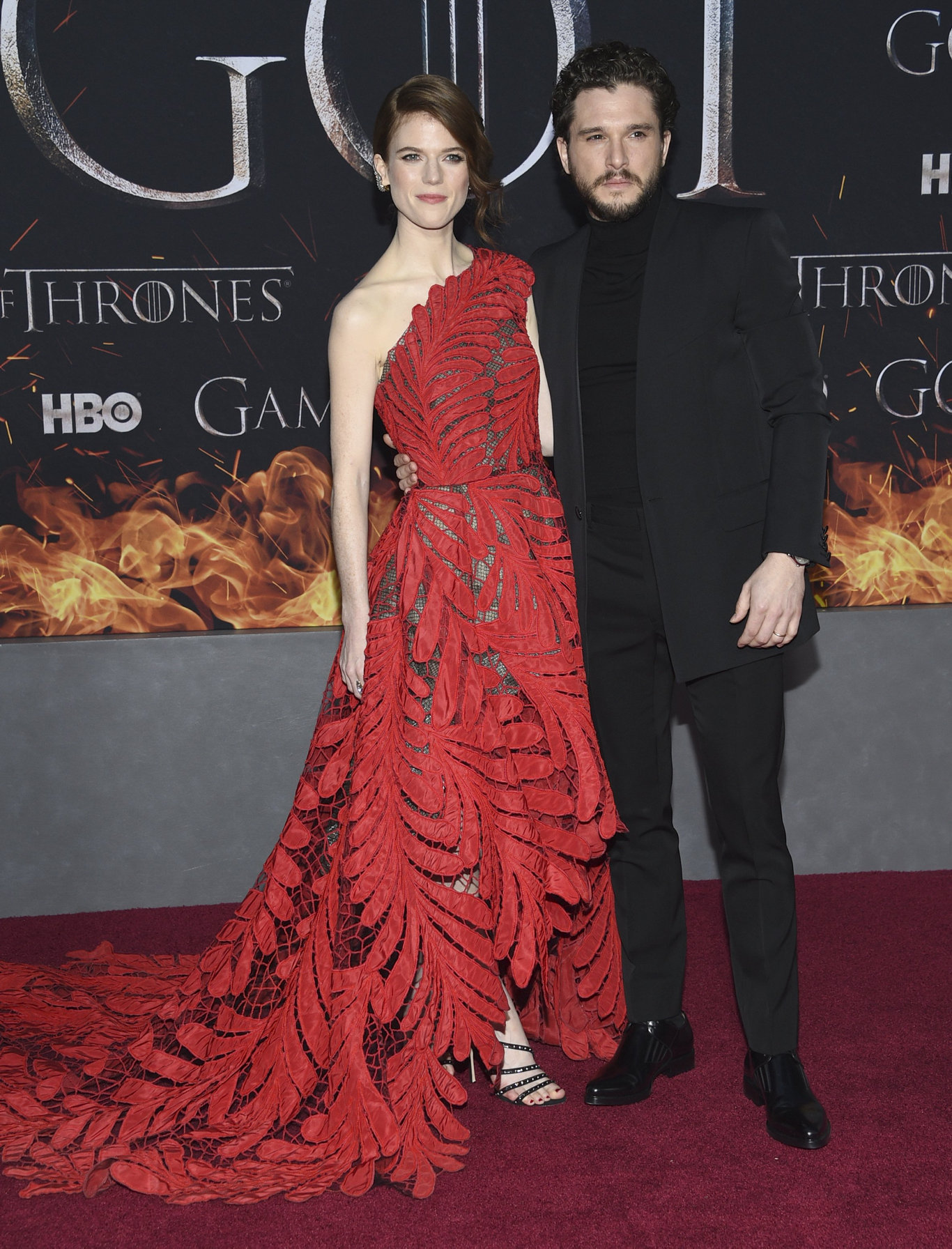 Rose Leslie, left, and Kit Harington attend HBO's Game of Thrones final season premiere at Radio City Music Hall in New York.