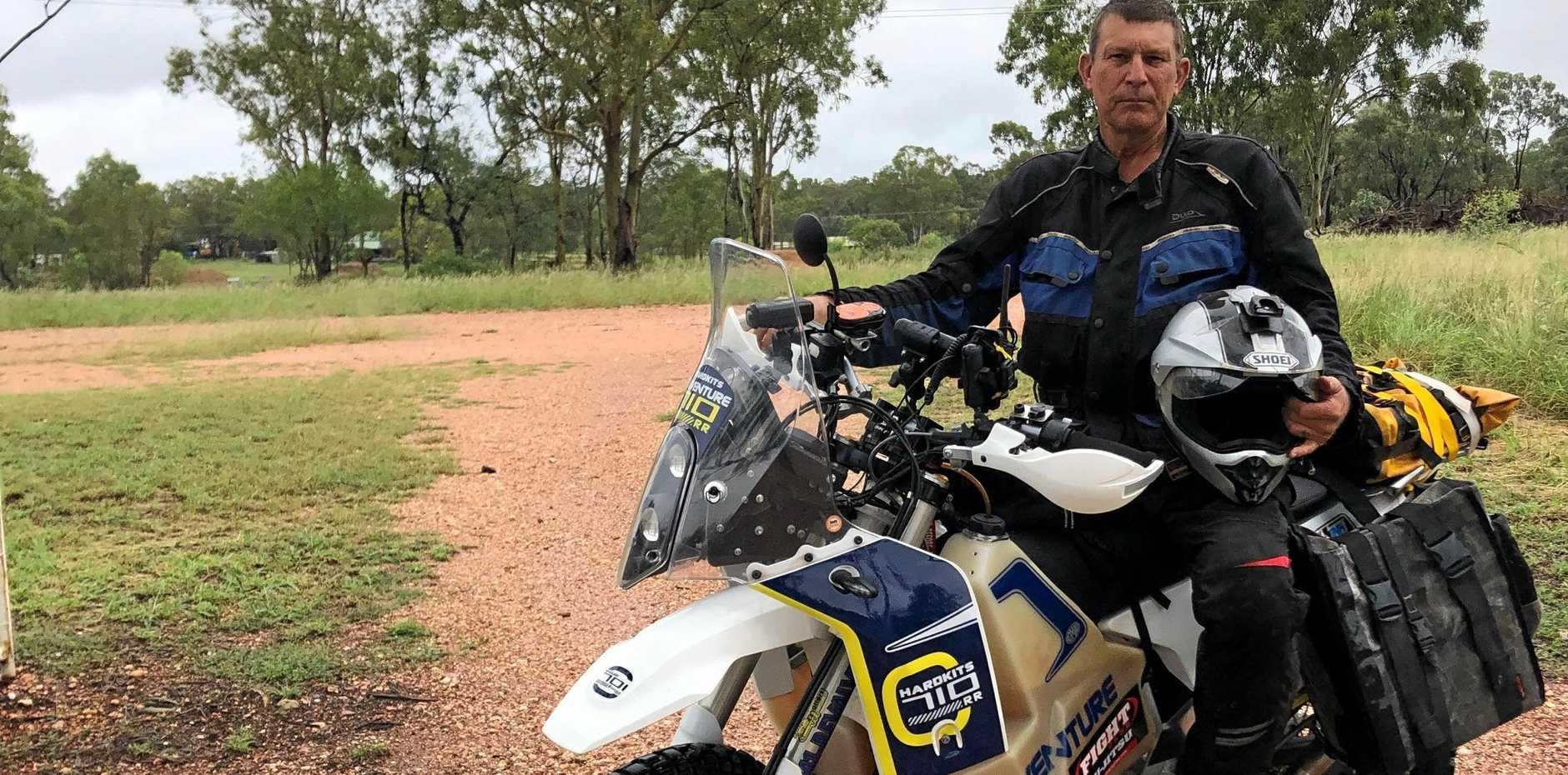 TOUGH TREK: Brett Johnstone is riding 10,000km around Australia to raise money for cancer research.