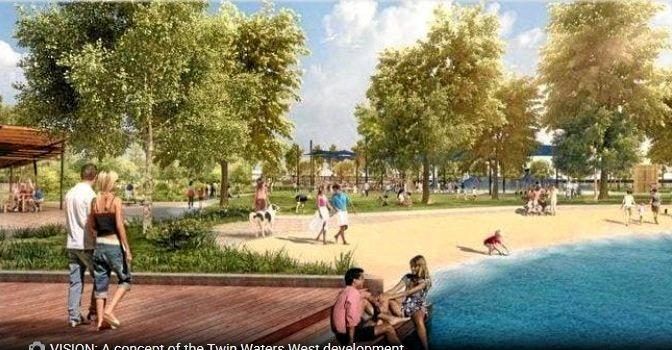 A heavily-stylised image used by Stockland to promote its proposed Twin Waters West development. A new report has found the proposal to be