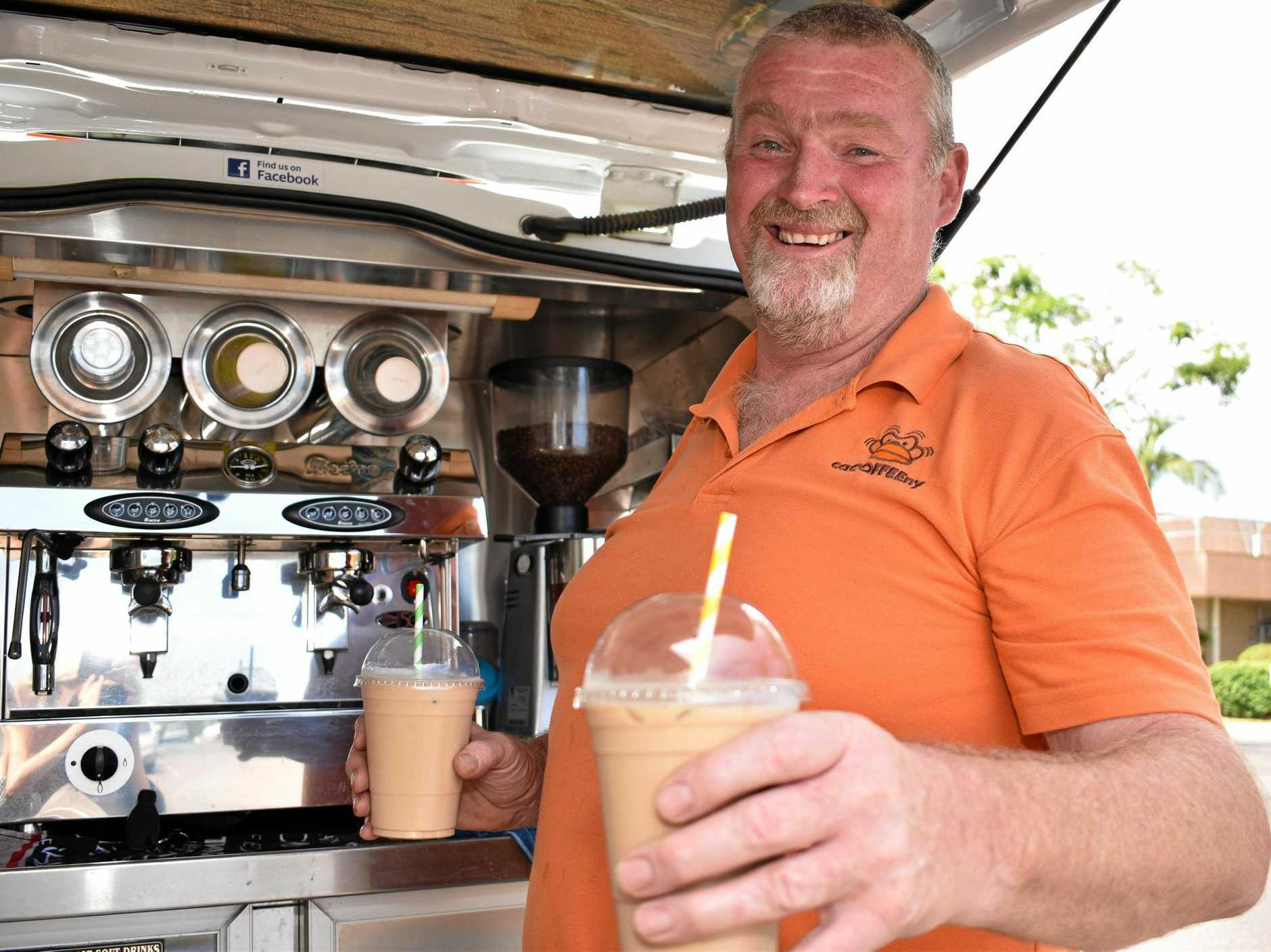 FIX SORTED: Alby Wagemaker serves up two iced coffees from his mobile coffee van business Cacoffeeney.