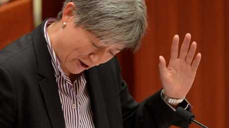 A frustrated Penny Wong. Picture: Tracey Nearmy/Getty