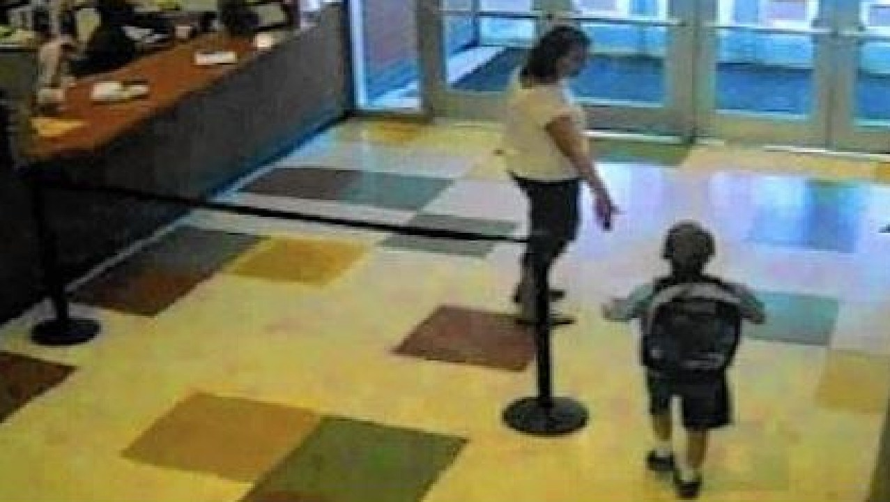 Surveillance video showing Timmothy Pitzen's mother, Amy Fry-Pitzen, taking him out of school on May 11, 2011. Picture: Aurora Police Department