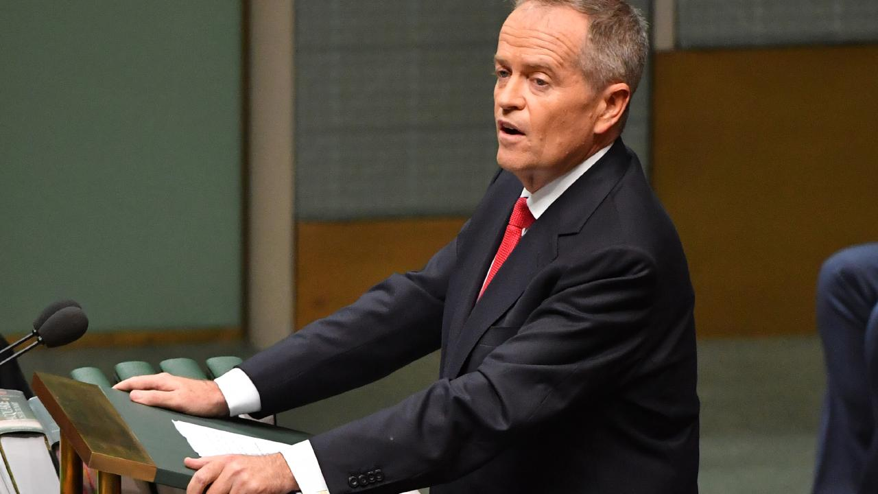 Bill Shorten delivering his Budget reply speech. Picture: AAP/Mick Tsikas
