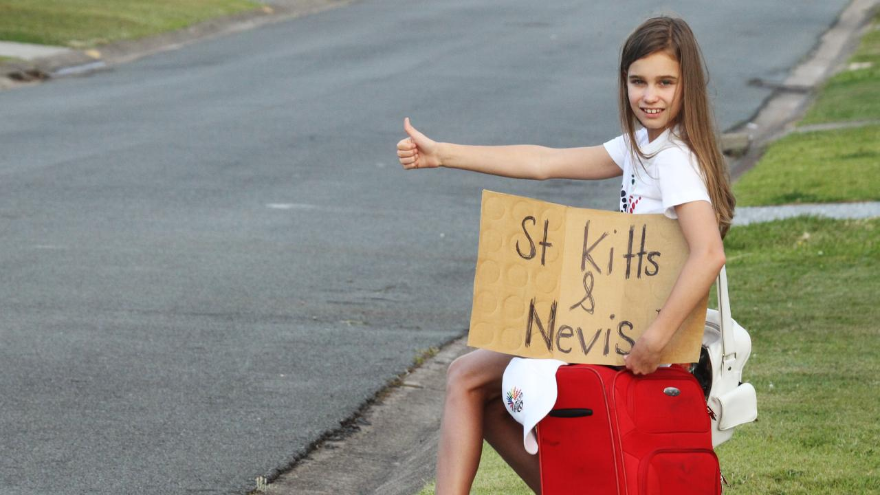 Eve Lutze (10) went to St Kitts and Nevis in the Caribbean for the Commonwealth Games announcement.