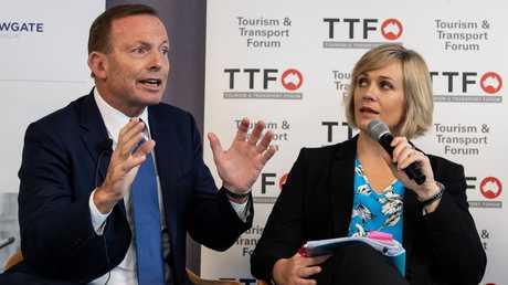 Tony Abbott and Zali Steggall. Picture: Monique Harmer