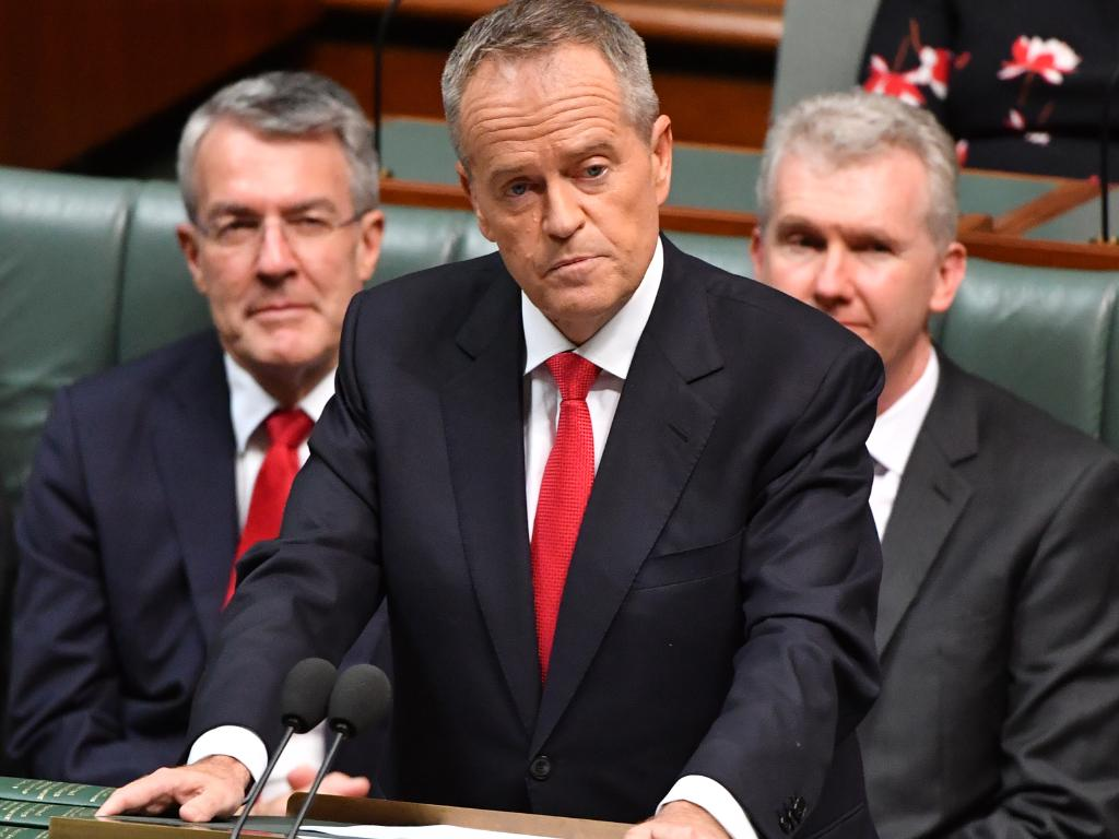 Opposition Leader Bill Shorten delivers the Federal Budget reply speech. Picture: Mick Tsikas/AAP
